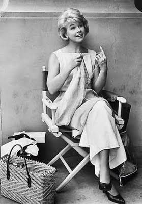 "Doris Day knitting on the set of ""That Touch of Mink"", unknown artist"